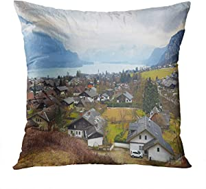 Qryipd Throw Pillow Cover Small Picturesque Village St Gilgen Aerial Alpine Alps Apartment Comfortable Print Living Room Car Sofa Bedroom Polyester Pillowcase Home Decor Cushion Case 16x16 Inch