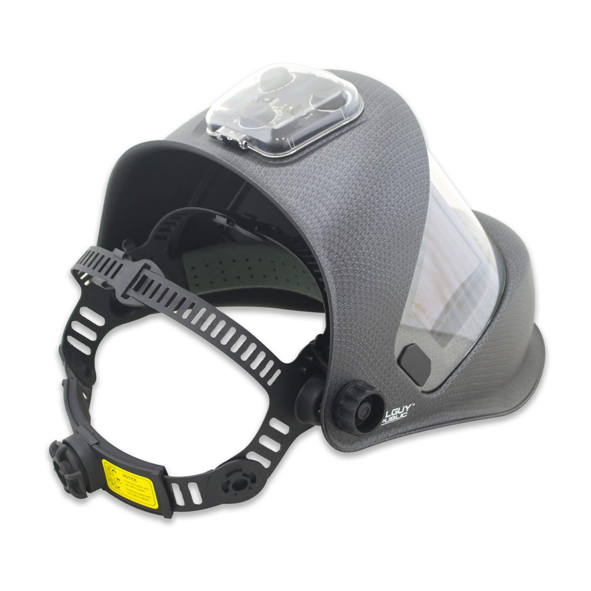 TGR Panoramic 180 View Solar Powered Auto Darkening Welding Helmet - True Color (MATTE CARBON FIBER) by Tool Guy Republic (Image #3)