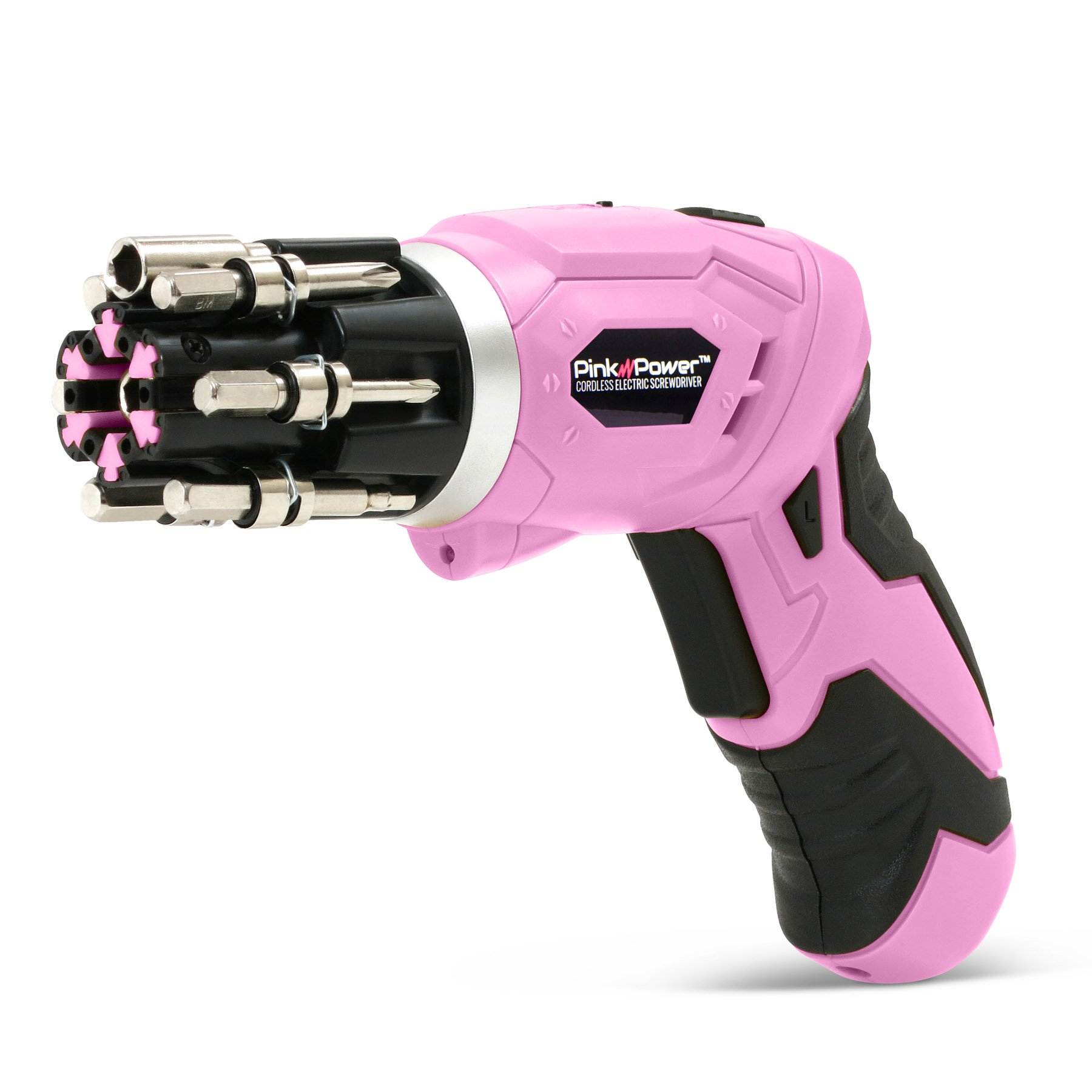 Pink Power 3.6 Volt Rechargeable Cordless Electric Screwdriver Set with Bubble Level by Pink Power