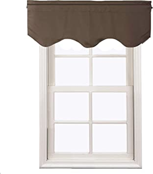 Aquazolax Blackout Window Valance Curtains For Living Room Rod Pocket Top Scalloped Curtain Valances For Kitchen 52 W X 18 L Toffee Brown 1 Panel