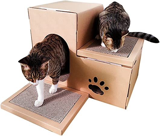 JEELINBORE Divertido Rascador Salón Cama Rascadores para Gatos Jaulas Casita Casa Cajas de cartón Corrugado para Mascota (Estilo # 2, 51x32x42cm): Amazon.es: Hogar