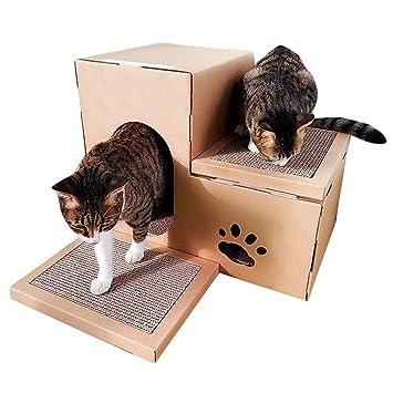 JEELINBORE Divertido Rascador Salón Cama Rascadores para Gatos Jaulas Casita Casa Cajas de cartón Corrugado para Mascota (Estilo # 2, ...