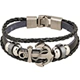 Amazon Price History for:Rock Multilayer Handmade Leather Nautical Anchor Bracelets Men Retro Braided Charm Bracelet