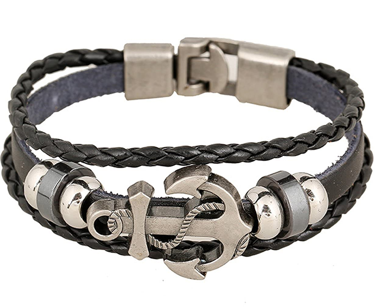 be3909236518 Amazon.com  Rock Multilayer Handmade Leather Nautical Anchor Bracelets Men  Retro Braided Charm Bracelet (Brown)  Jewelry