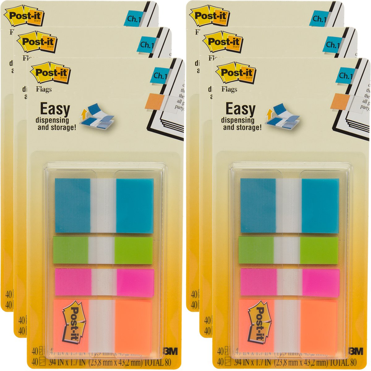 Post-It (480 Count) Flags in 2 Sizes, Bright Colors: Blue Green Pink and Orange, Value Pack, Color Code
