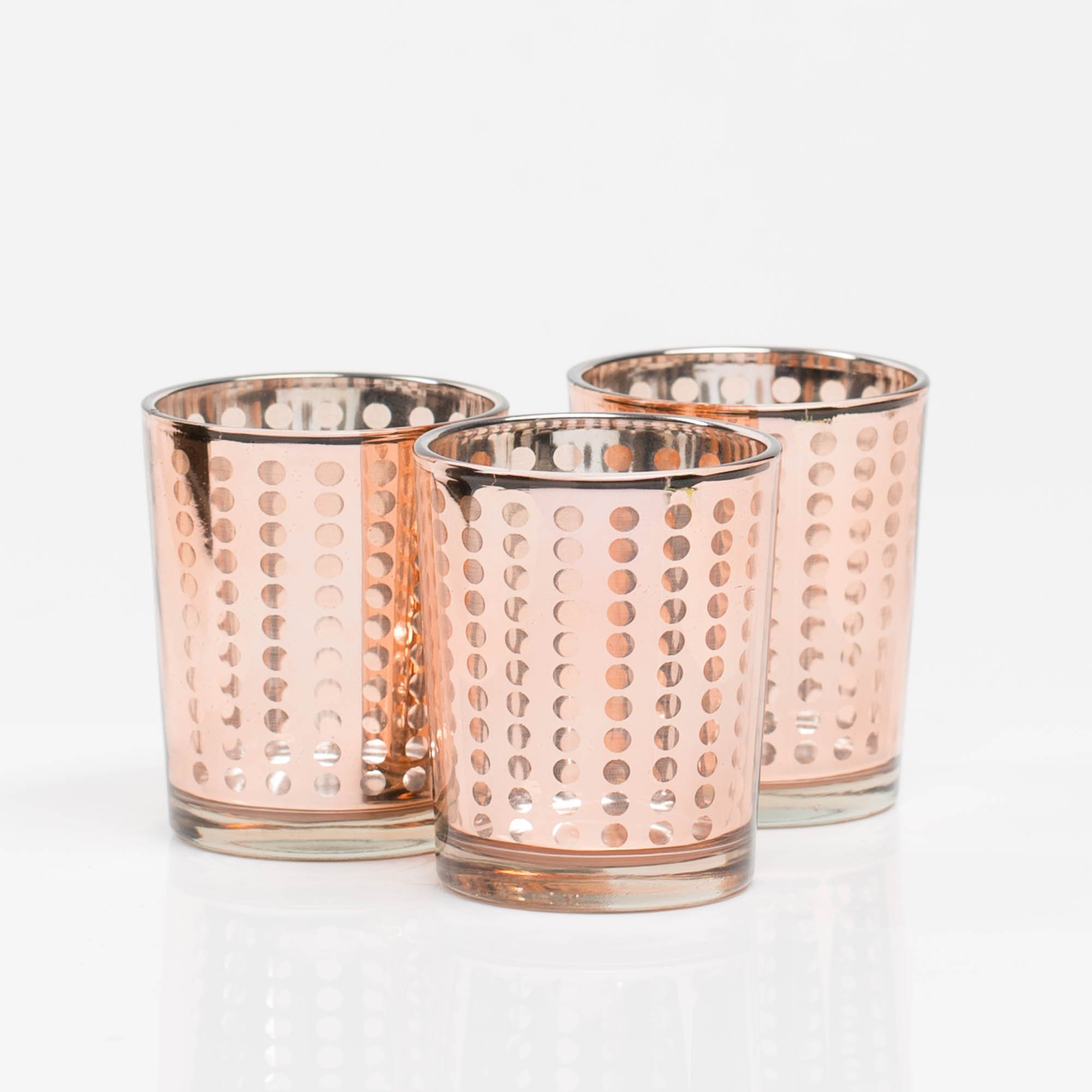 Richland Rose Gold Small Dotted Glass Holders Set of 72