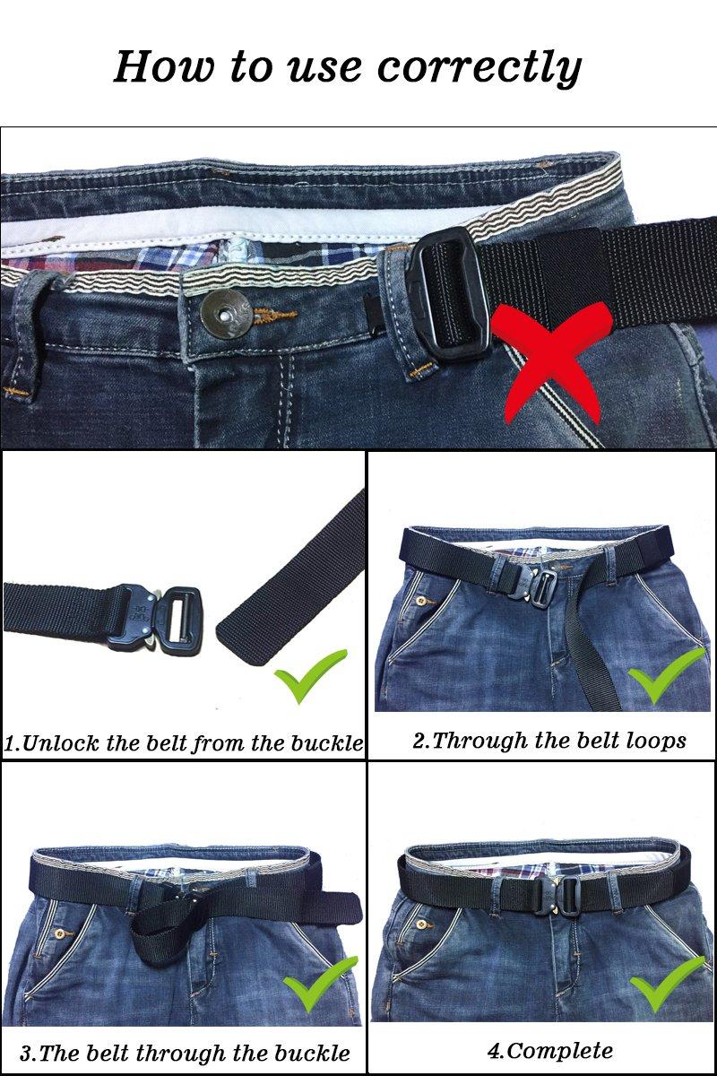 Men's Tactical Belt Heavy Duty Webbing Belt Adjustable Military Style Nylon Belts with Metal Buckle by KingMoore (Image #6)