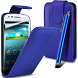 Premium Quality New Leather Flip Case Cover Fits + Screen Protecter & Long Stylus For Samsung S3 mini I8190 - Blue