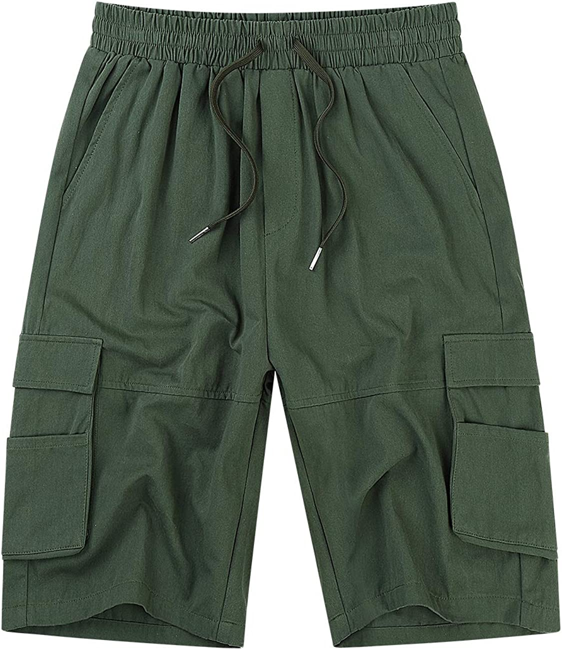 KUULEE Men's Cargo Shorts Elastic Waist Drawstring Relaxed Fit Multi-Pockets Outdoor Casual Shorts