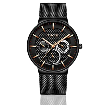 Watches Men Quartz Analog Stainless Steel Chronograph Date Waterproof Watch for Women (Black)