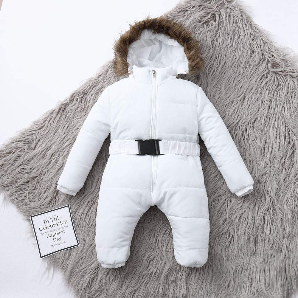 Amazon.com: Baby Boy Girls Warm Thick Coat Outfit,Infant Winter Romper Jacket Hooded Jumpsuit (12M, White): Electronics