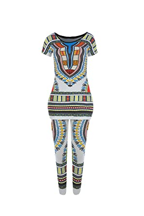 0d19ad11e52 Amazon.com  Doubleal Womens Dashiki Suit Short 2 Pieces Outfits Plus Size  Sleeve Side Slit Tops + Skinny Leggings  Clothing