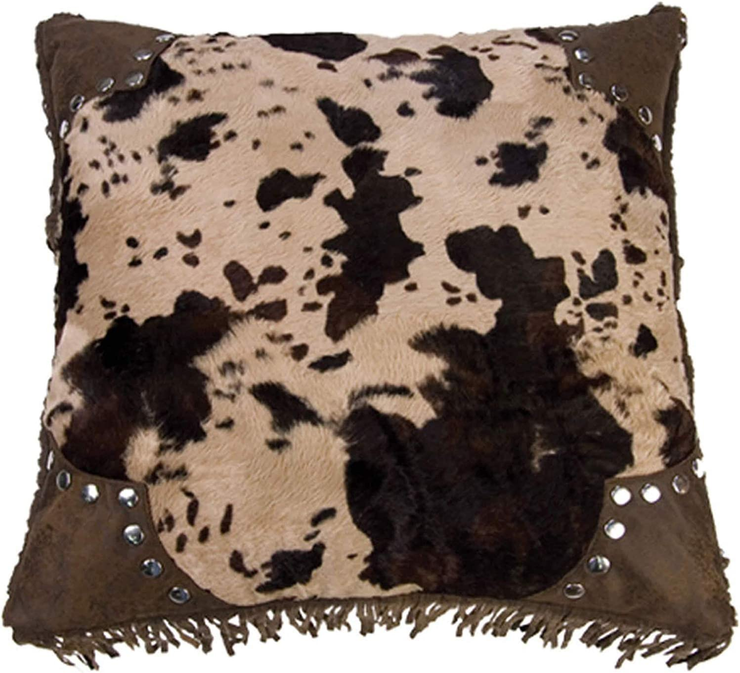 """HiEnd Accents Caldwell Leather Scalloped Faux Cowhide Throw Pillow, 18"""" x 18"""", Brown"""