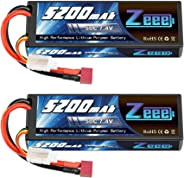 Zeee 2S Lipo Battery 7.4V 50C 5200mAh RC Lipo Batteries Hard Case with Deans Plug for 1/8 1/10 RC Vehicles Car Trucks Airplan