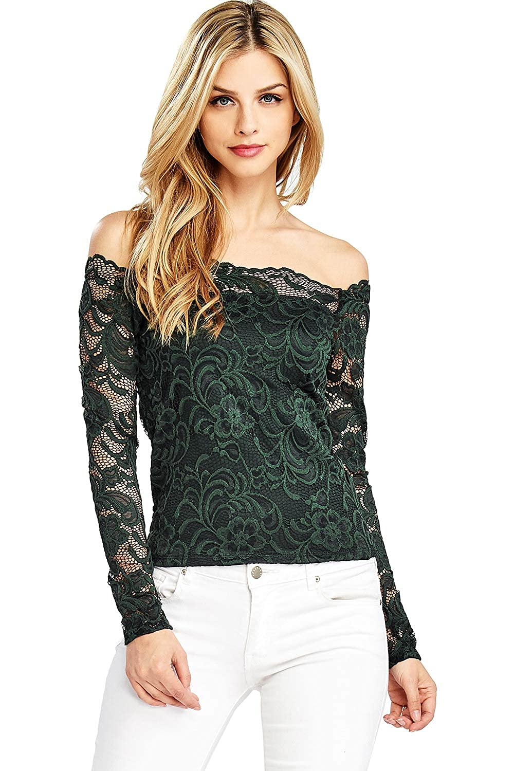 Hunter Green Ambiance Women's Crop Lace OffShoulder Long Sleeve Top