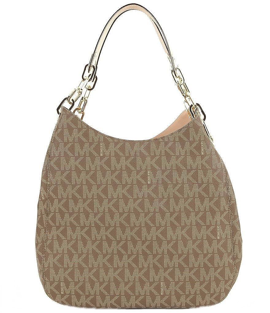 dc54902ddd03 Amazon.com: Michael Kors Fulton Large Signature Logo Shoulder Tote Bag  (Mocha): Shoes