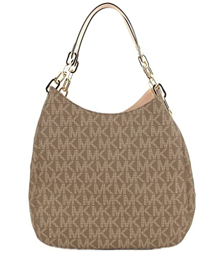 41f1a8e1e7a1c7 Amazon.com: Michael Kors Fulton Large Signature Logo Shoulder Tote Bag  (Mocha): Shoes