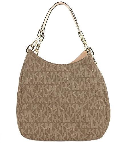 fad25177e6d6 Amazon.com  Michael Kors Fulton Large Signature Logo Shoulder Tote Bag  (Mocha)  Shoes