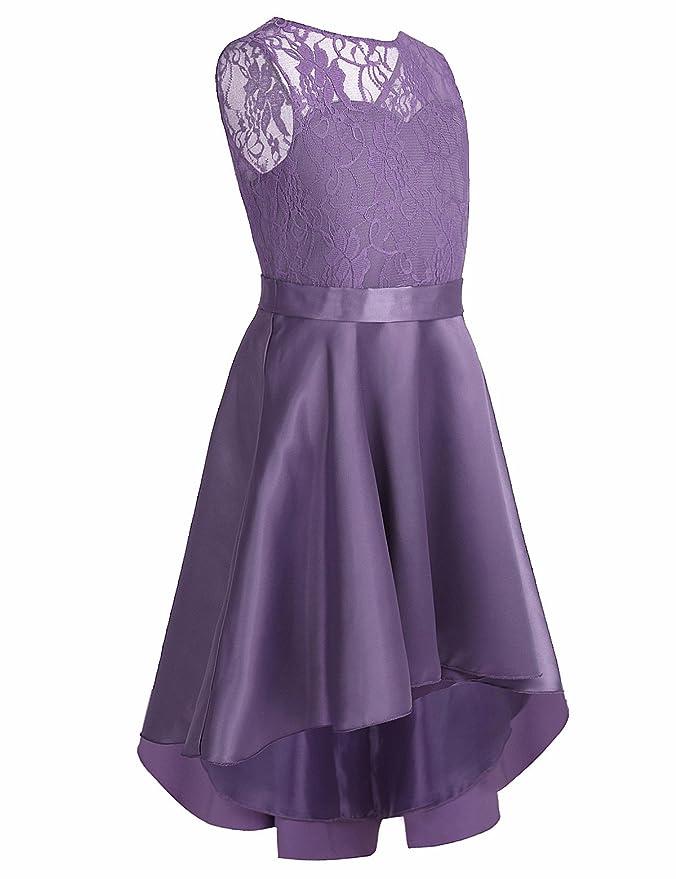 iEFiEL Kids Girls Lace High-Low Flower Girl Dress Princess Pageant ...