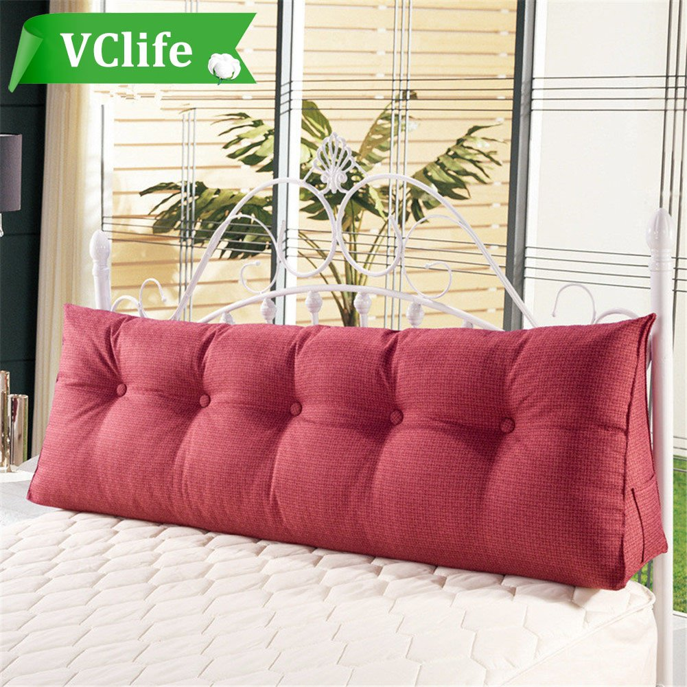 VClife Cotton Linen Filled Triangular Wedge Cushion Bed Backrest Positioning Support Pillow Reading Pillow Home Office Lumbar Pad with Removable Cover,47x19x7.9inch,Wine Red