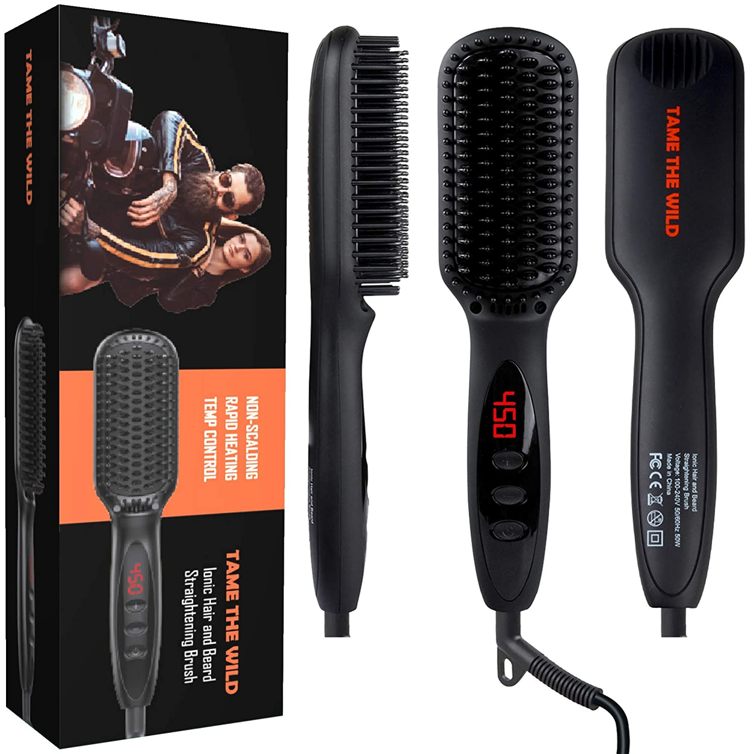 "Tame's Beard Straightener for Men - Anti-Scald Beard Straightening Comb - MCH Ceramic Heater Tech - 12 Temp Settings - Built In Ionic Generator - LED Display - Best for Beards Over 2"" Long"
