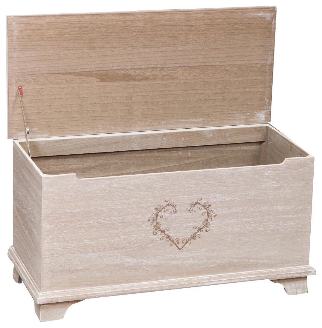 Biscottini Cassapanca Shabby LOVE in legno finitura bianca anticata 120x35x43 cm