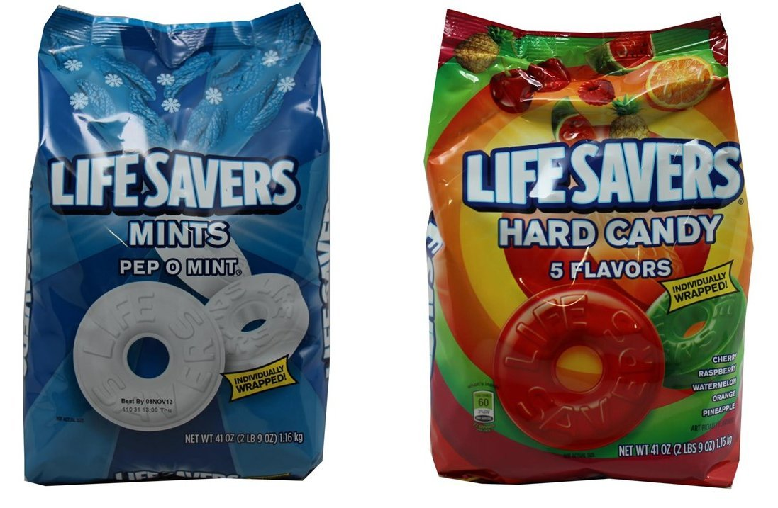 Life Savers Hard Candy, Individually Wrapped, Bundle Pack - Pep O Mint & 5 Flavors, 41oz Each bag, (Pack of 2) by Life Savers