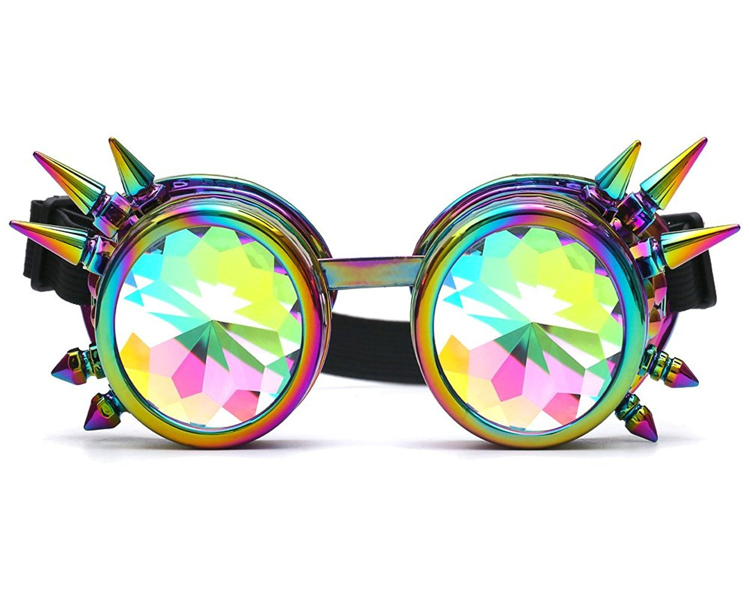 Winroor Kaleidoscope Rave Goggles Steampunk Glasses with Rainbow Crystal Glass Lens