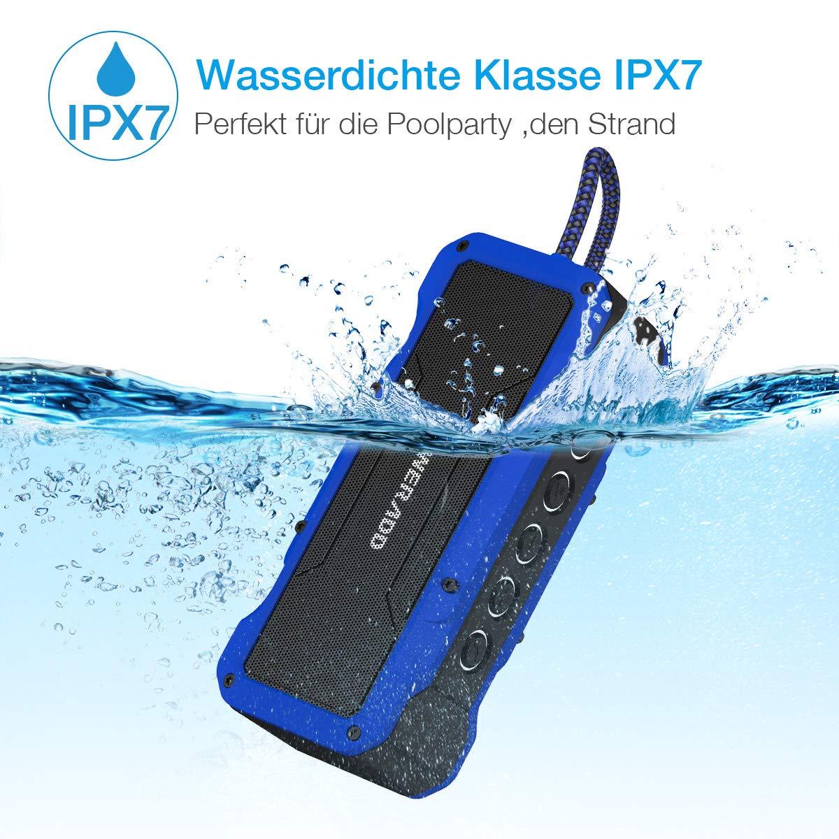 POWERADD Bluetooth Lautsprecher Wasserdicht IPX7 Wireless Lautsprecher Außen Bluetooth Box mit 4 StereoTreibern 36W (2X13W+2x5W) 4000mAh, staubdicht, stossfest, blau