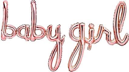 Rose Gold /'Girl/' Script Baby Shower Foil Balloon Banner Gender Reveal Its a Girl