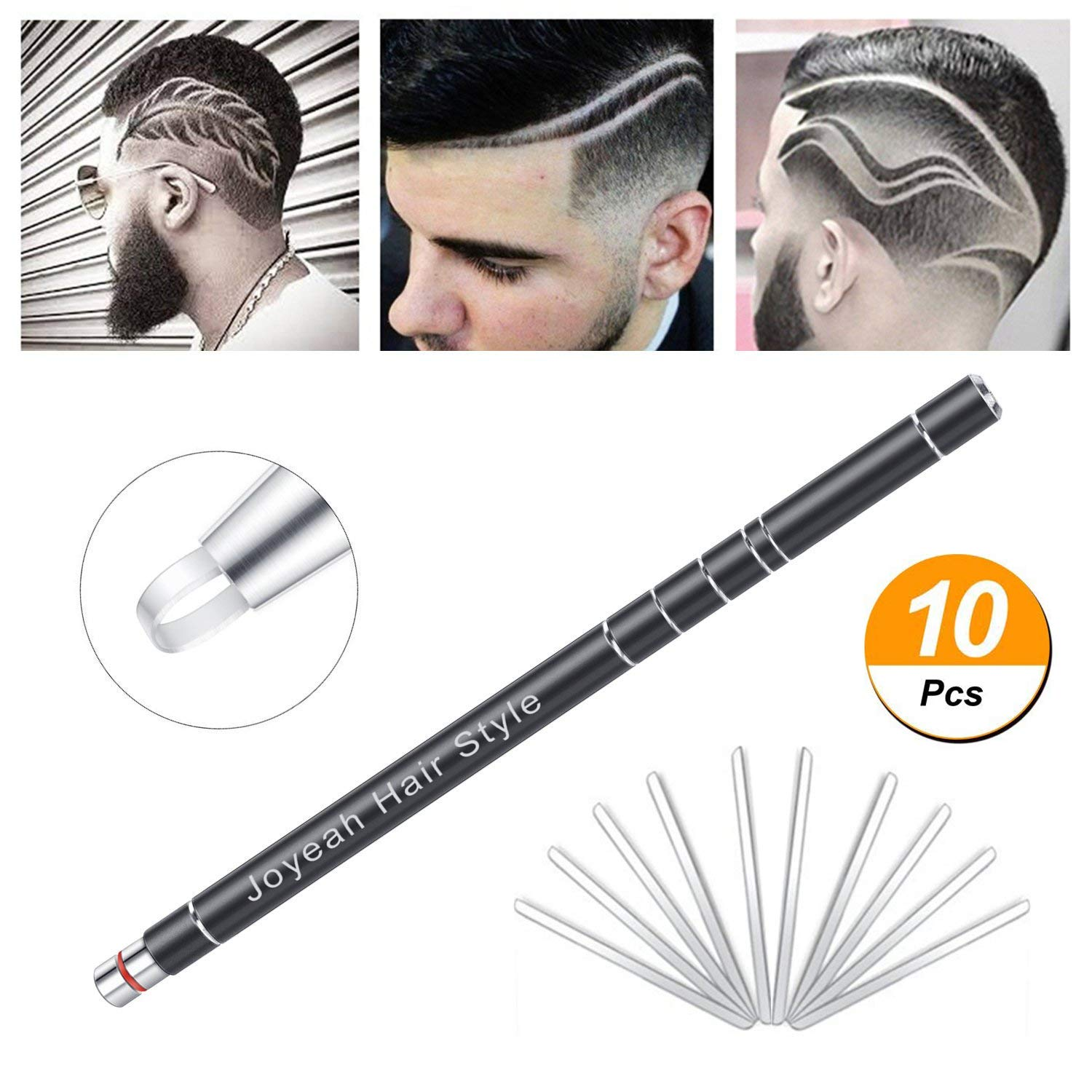 Hair Tattoo Trim Styling Face Eyebrow Shaping Device, Hair Engraving Pen + 10 Blades + Tweezers Hair Styling Eyebrows Beards Razor Tool (Black) Coobal
