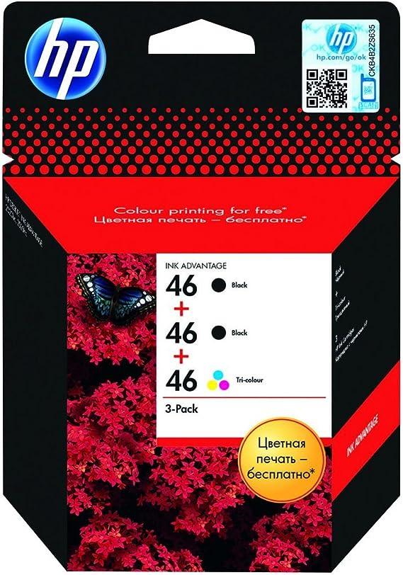 Hp 46 Pack Of 3 Black Farbstoffbasiert Tri Colour Original Ink Advantage Ink Cartridge For Deskjet Ink Advantage Ultra 2529 Ink Advantage Ultra 5739 Ultra Ink Advantage 2029 F6t40ae Bürobedarf Schreibwaren