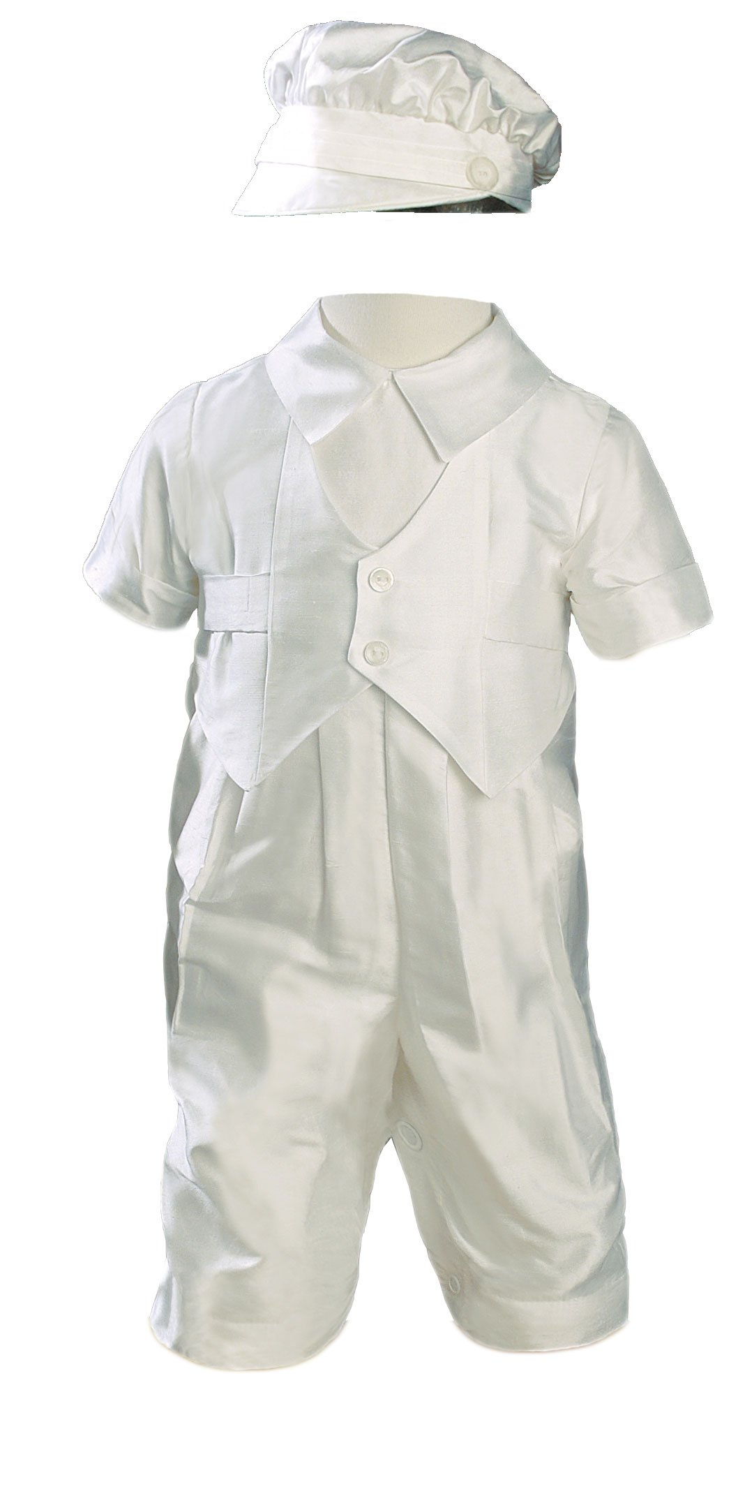 Silk Dupioni Vested Christening Baptism Coverall with Hat, 12 Month
