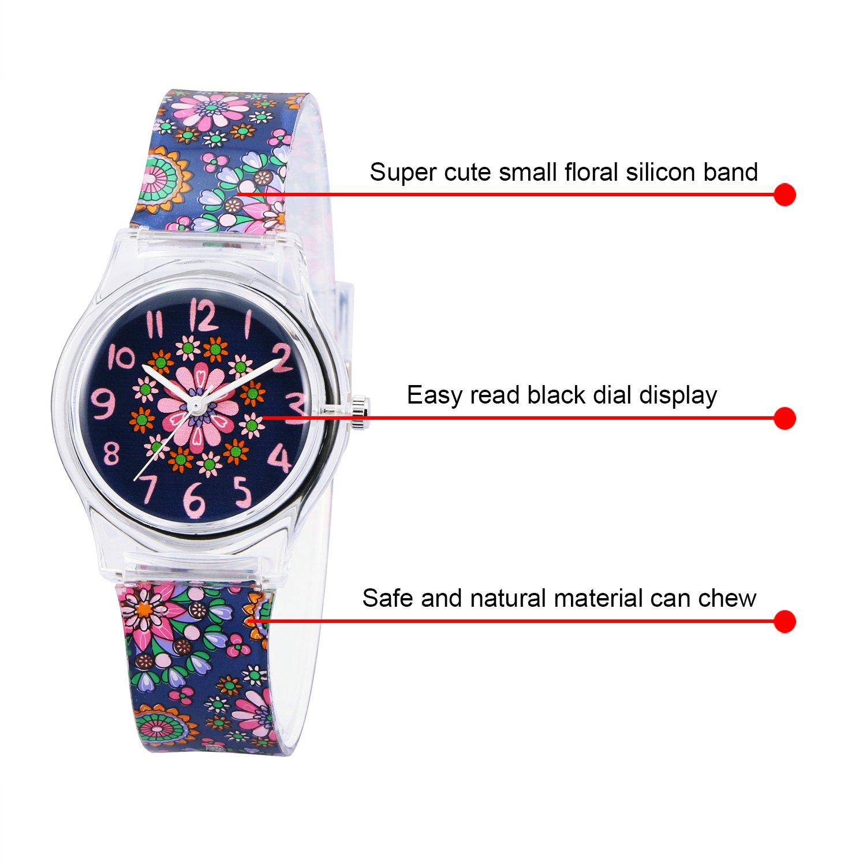 Zeiger Kids Children Girls Women Teen Watch Time Teacher Watch with Silicon Band(Black Small Floral)