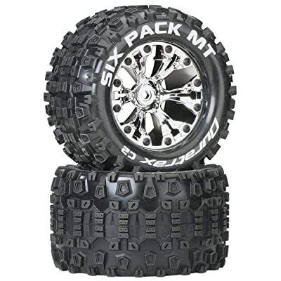 """Duratrax Six Pack MT 2.8"""" 1/10 RC Monster Truck Tires with Foam Inserts: C2 Soft, Mounted, 6-Spoke Rear Wheels, Chrome, Set of 2: Toys & Games"""