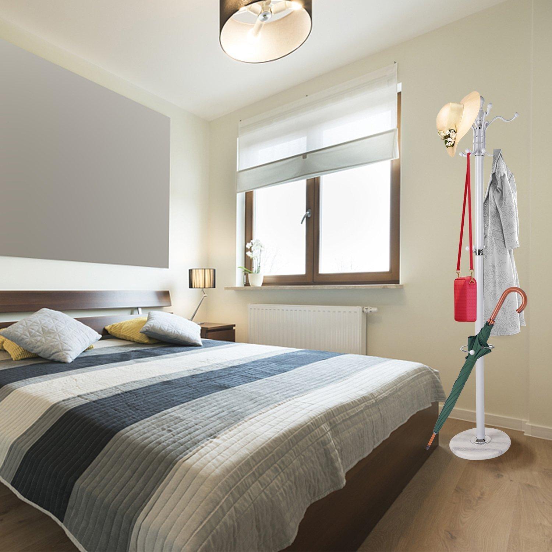 Homgrace Perchero Metálico de Pie para Colgar Ropa Gorros Bolsas con 15 Ganchos Ideal para Dormitorio, Sala de Estar, Oficina, Hotel (Tipo B Blanco)