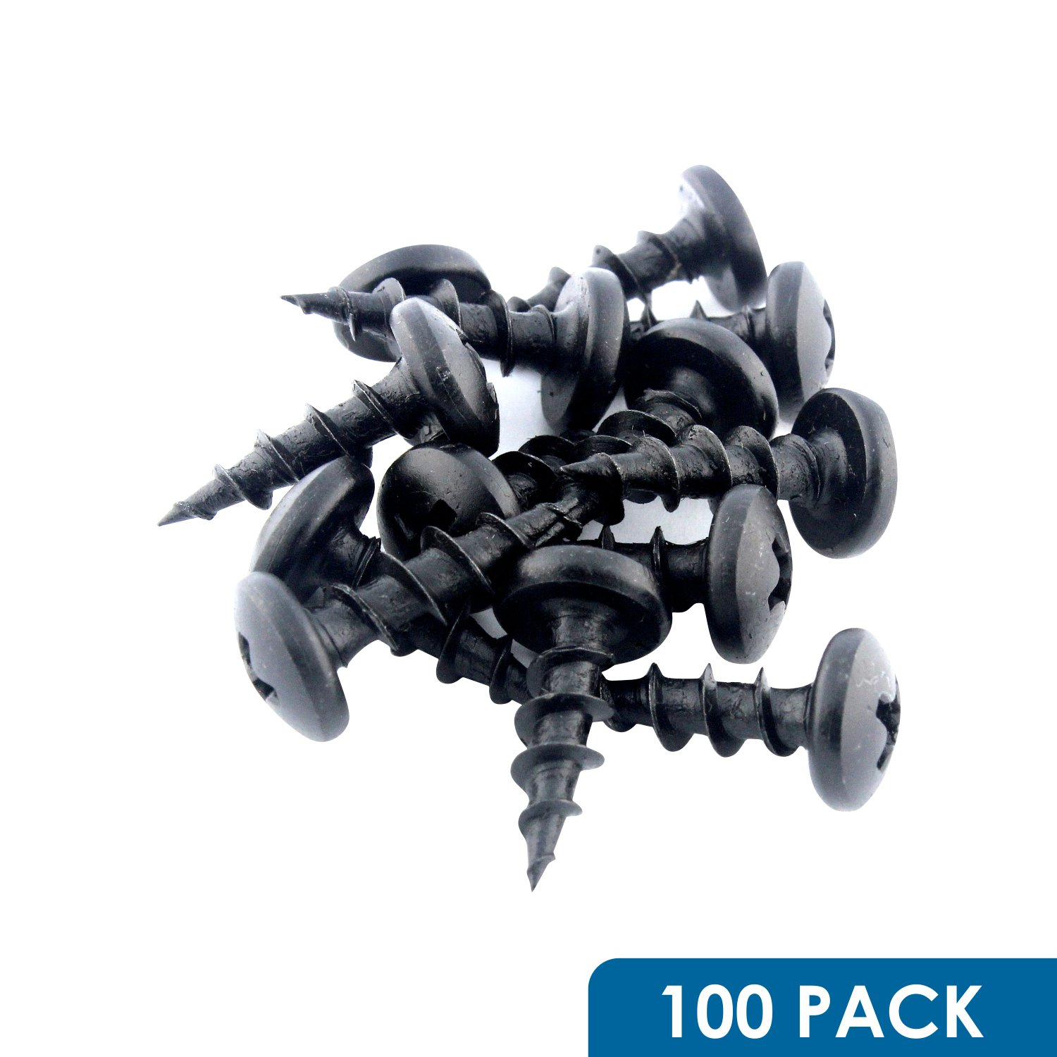 "#10 x 5/8"" Deep / Coarse Thread Phillips Pan Head Screws Black Phosphate, 100 Pack"