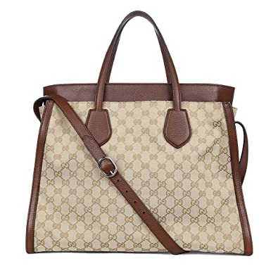 bcf92f7b8dc4 Amazon.com: Gucci Ramble Original GG Canvas and Brown Leather Layered Tote  Handbag 370820: Shoes