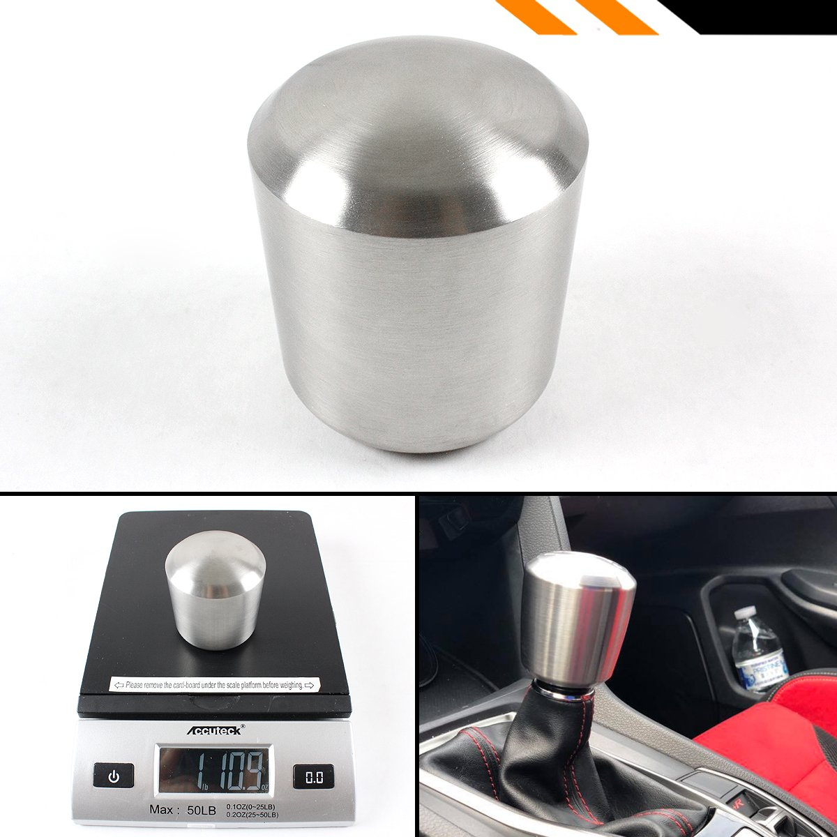 Cuztom Tuning 1LB Premium Cylinder Stainless Steel Manual//Automatic Transmission Heavy Weighted Shifter Gear Shift Knob Selector