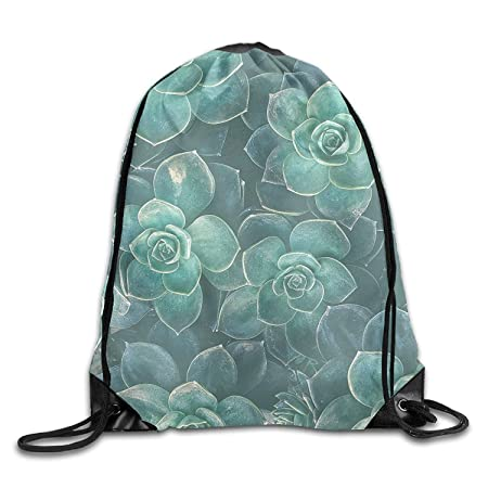 Succulents Flower Drawstring Bags Portable Backpack Pocket ...