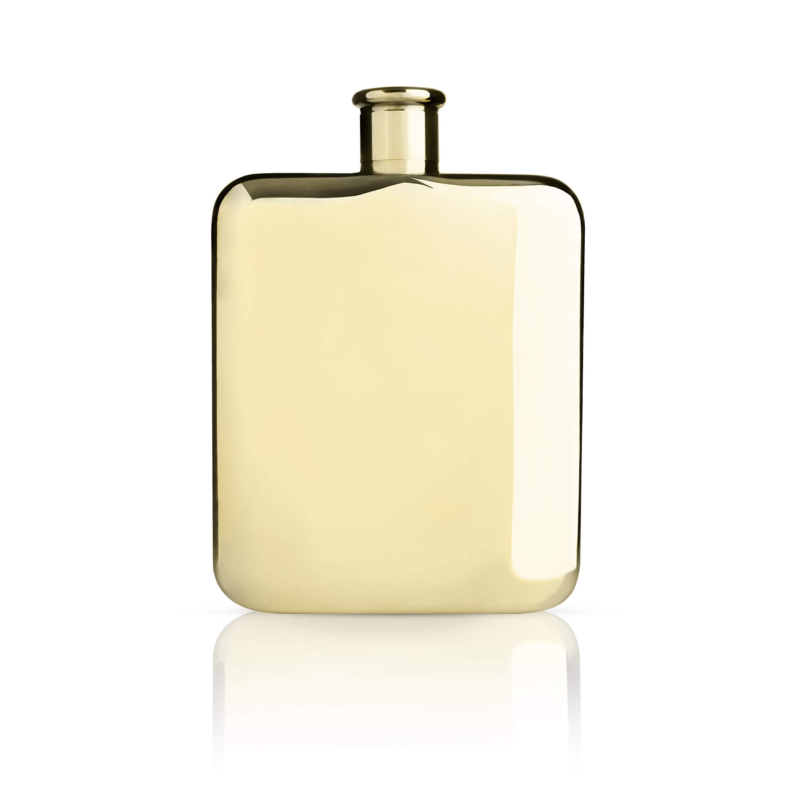 Viski 3710 Belmont Plated Flask, 5'' Gold, by Viski