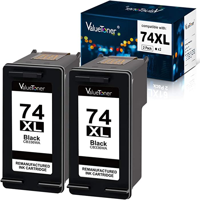 Valuetoner Remanufactured Ink Cartridge Replacement for HP 74XL High Yield CH623BN CB336WN (2 Black) 2 Pack