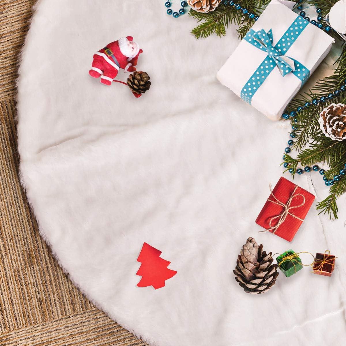Rorchio 78cm Weihnachtsbaumdecke Wei/ß Pl/üsch Christmasbaumdecke Rund Tannenbaum-Unterlage Weihnachtsbaumteppich Ornamente Dekoration f/ür Weihnachten