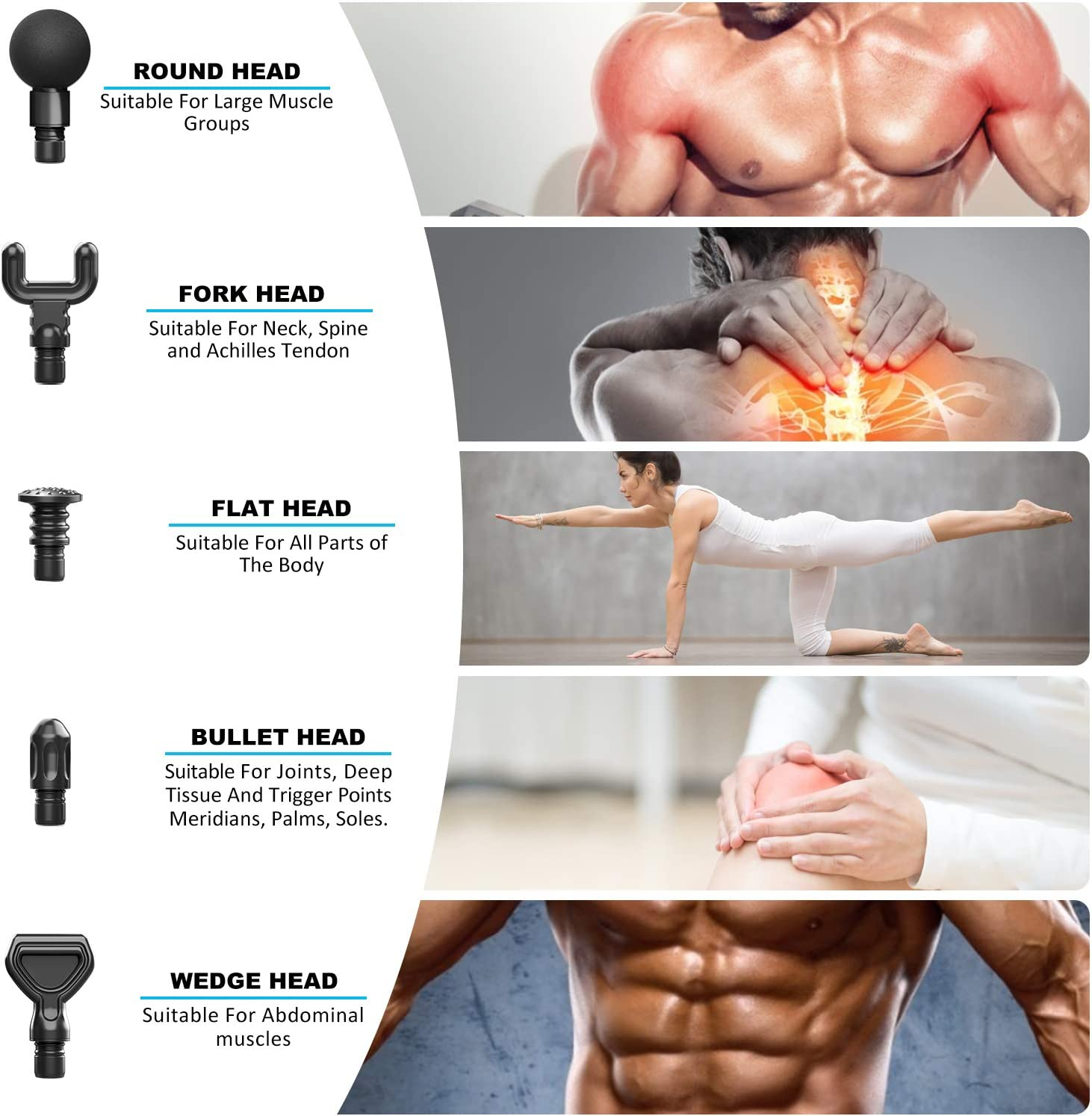 Muscle Massage Gun, FITINDEX Powerful Percussion Massage Gun Deep Tissue, Up to 20 Speeds Handheld Muscle Massager Gun Electric for Athletes: Health & Personal Care
