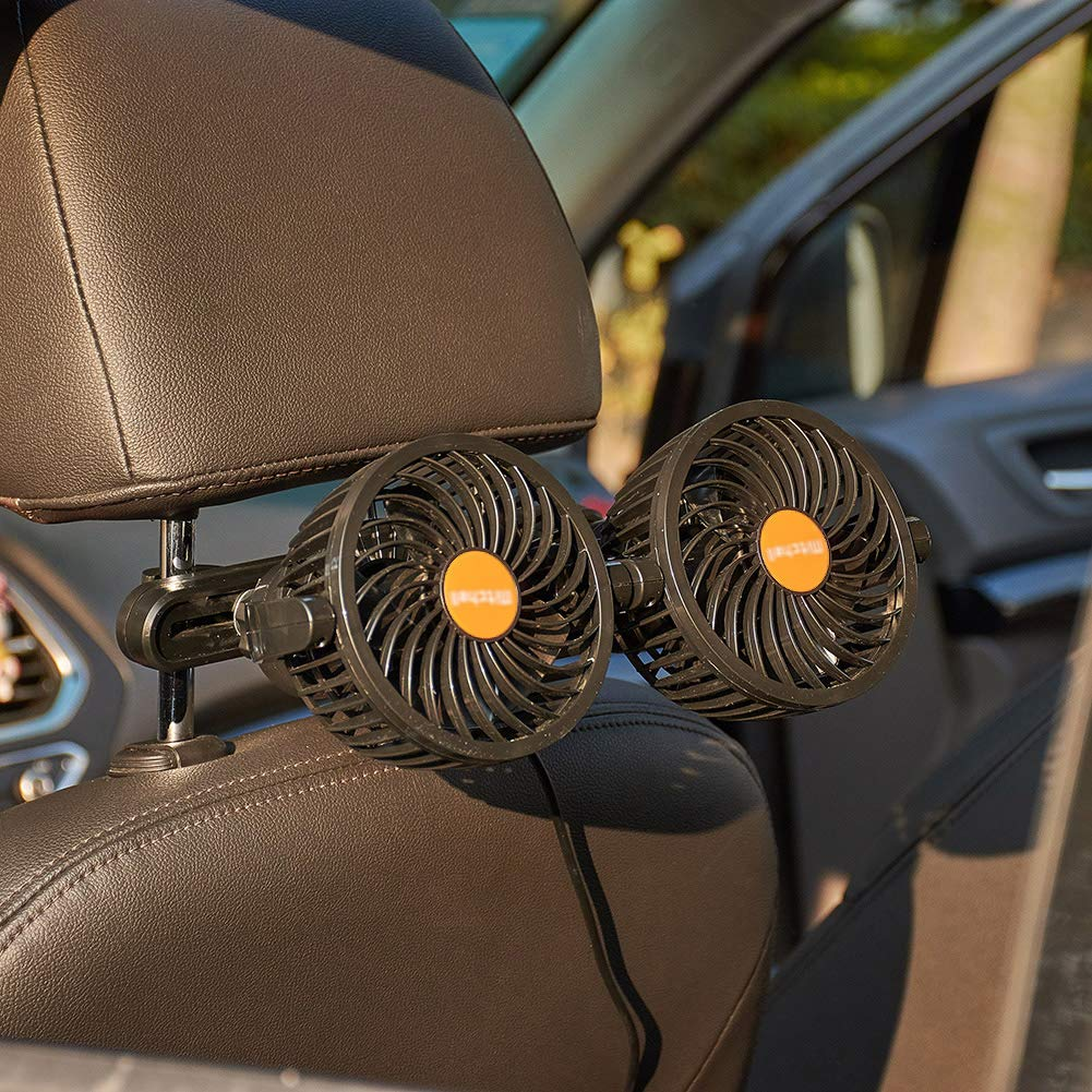 ATMOMO 12V Electric Air Cooling Fan Portable Car Seat Fan Headrest 360 Degree Rotatable Car Fan