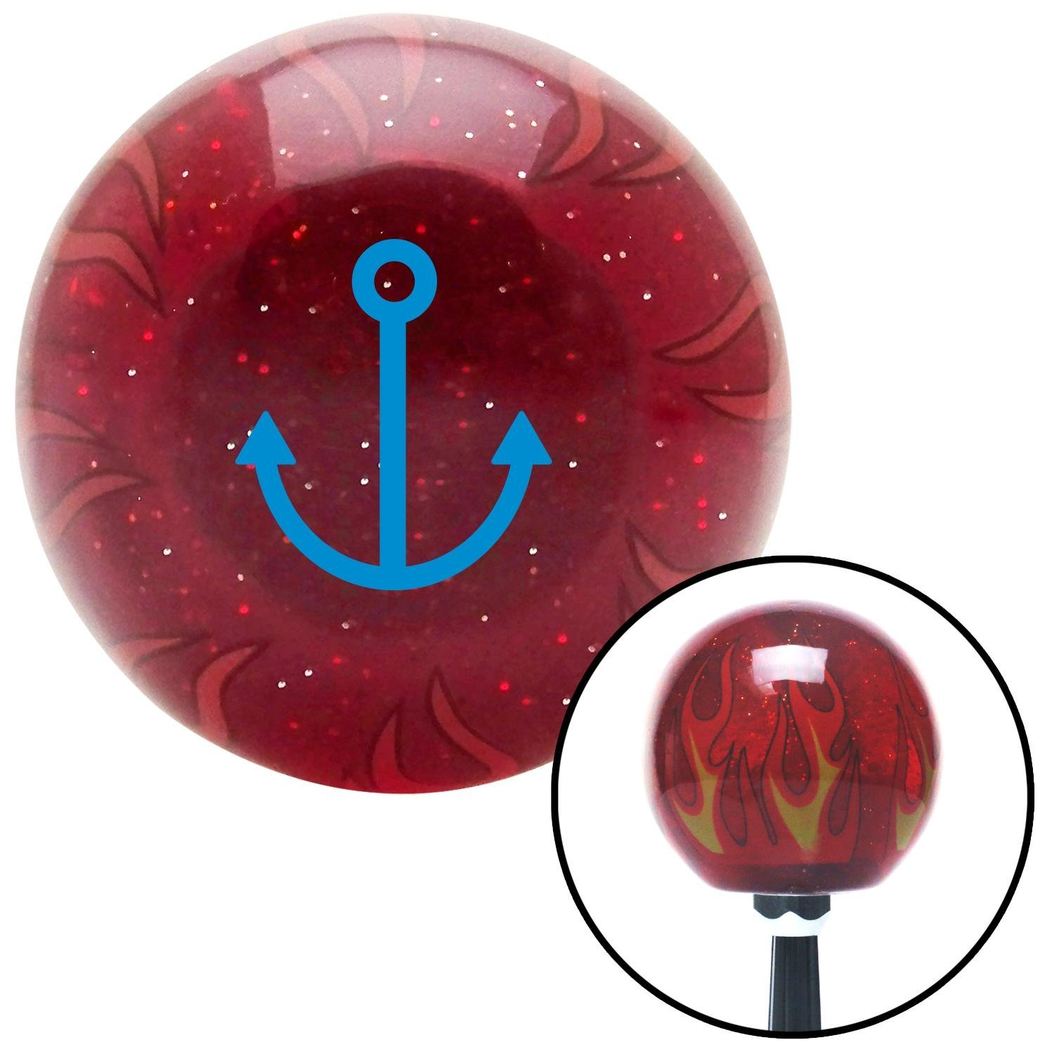 American Shifter 241009 Red Flame Metal Flake Shift Knob with M16 x 1.5 Insert Blue Marine Anchor