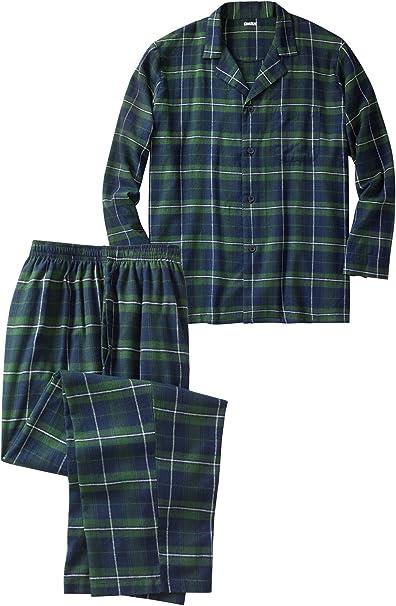KingSize Mens Big /& Tall Plaid Flannel Pajama Set