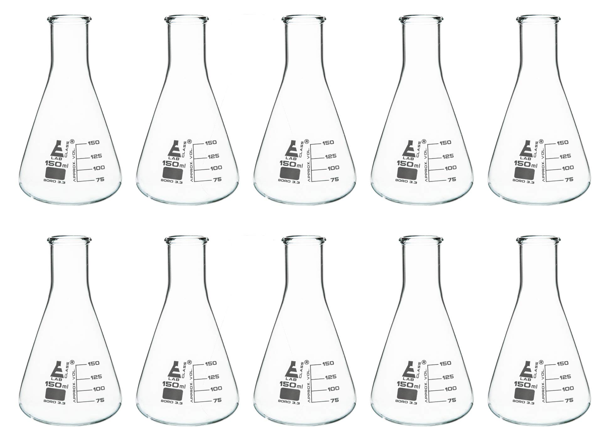 10PK Erlenmeyer Flasks, 150ml - Borosilicate Glass - White Graduations - Narrow Neck - Pack of 10 Flasks - Eisco Labs by EISCO