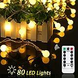 Cadena de Luces, REDU Cadena de Bombillas10m, tipo esferico, resistente al agua, 80 bombillas blancas calidas, adornos navidenos, festivales, interiores, terrazas al aire libre, etc. (80 ampoules)