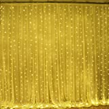 Ucharge Led Curtain Icicle Lights 600led 19.8X9.8 feet 9 Modes Warm White Christmas Curtain String Fairy Lights for Wedding, Home, Garden, Party, Festival, Holiday Decorations
